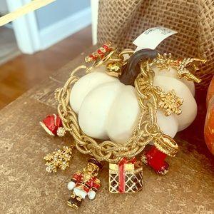 St. John Gold Christmas Charm Bracelet NWT
